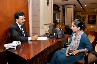 Hotel Management trainer helping a guest at the Pearl Continental Hotel Rawalpindi 9