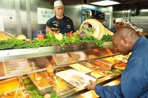 USS Rueben James Sailors celebrate Thanksgiving at sea