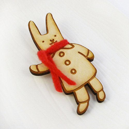 Winter Bunny With Red Scarf Wood Pin 1