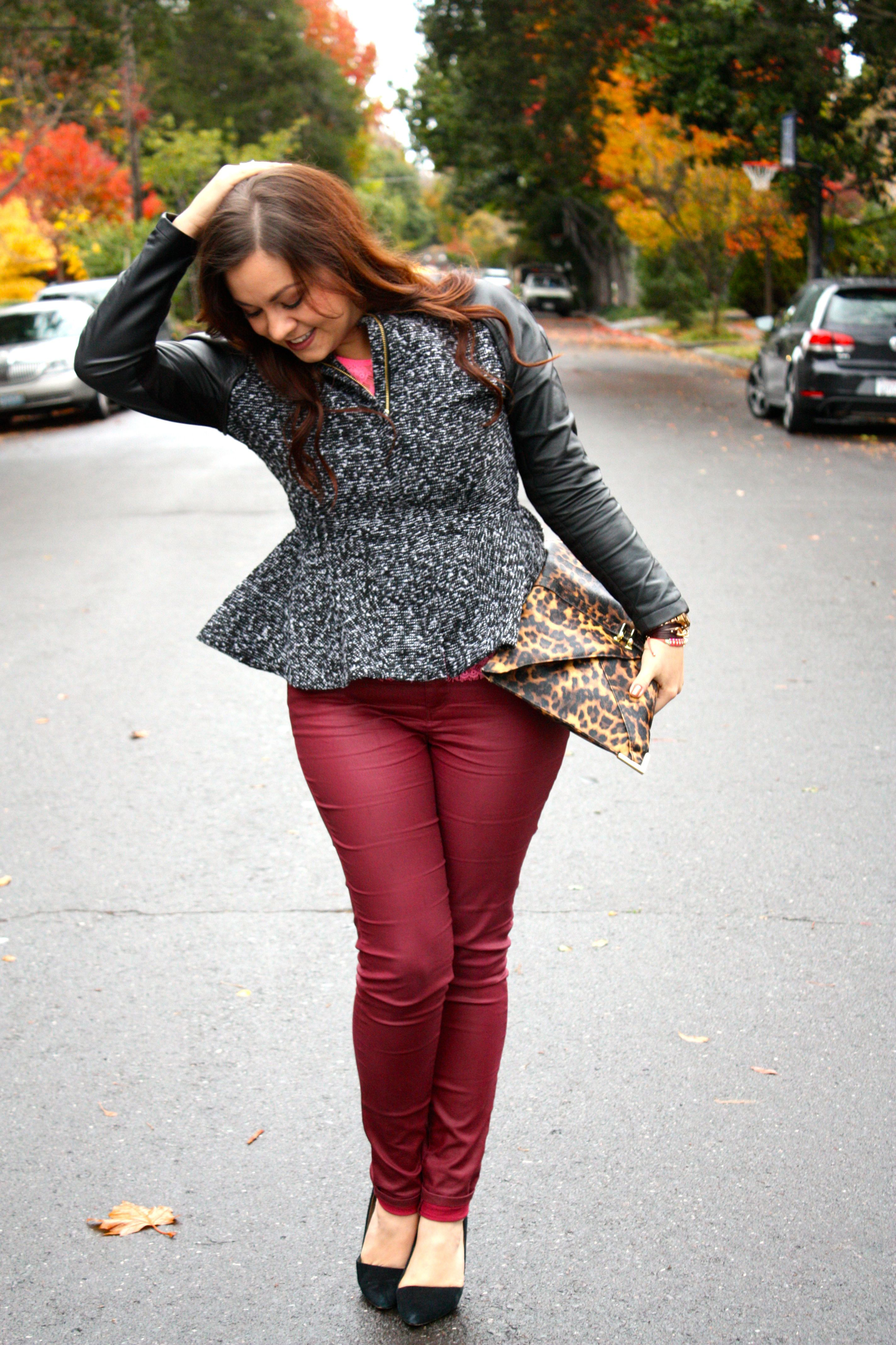neon lace top - burgundy waxed jeans - tweed and leather peplum jacket - leopard envelope clutch03