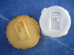 cookie featuring an embossed TARDIS image