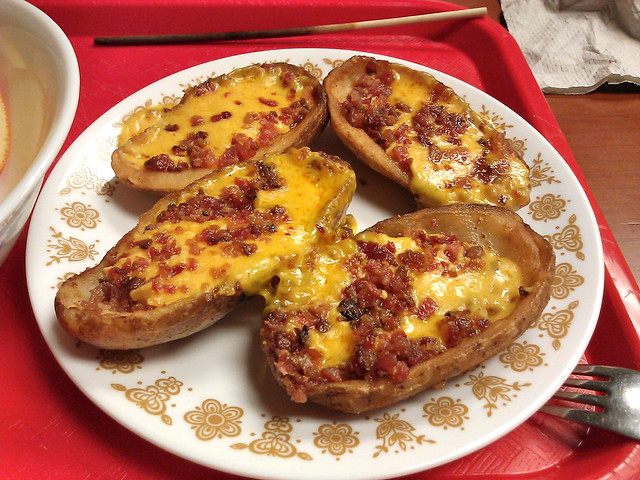Cheddar and bacon potato skins | Flickr - Photo Sharing!