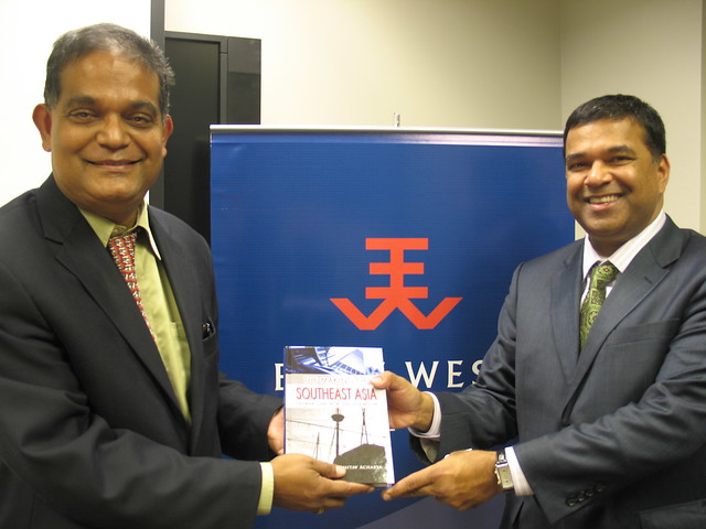 Left to Right: Dr. Amitav Acharya, chair of the ASEAN Studies Center at American University and Dr. Satu Limaye, director of the East-West Center in Washington, display Dr. Acharya's latest book on Southeast Asia.