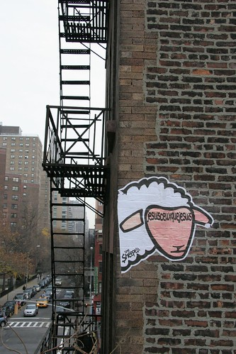 A Sheep Around A Fire Escape