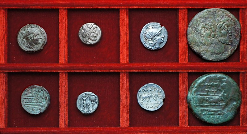 RRC 089 club silver and As, RRC 88 spearhead Sardinian variety sextans, Ahala collection, coins of the Roman Republic
