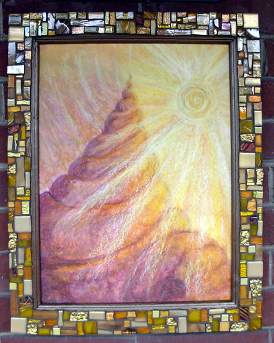 Rising Higher: Suzanne Halstead Oil Pastel and Mosaic Frame by Margaret Almon