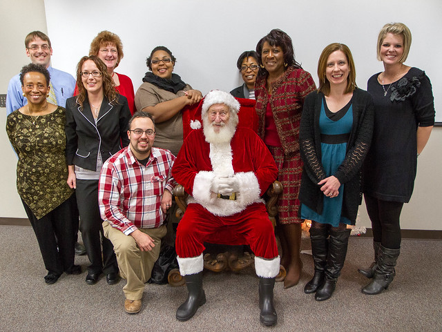Advising Staff and Santa at the Faculty and Staff Holiday Party 2012