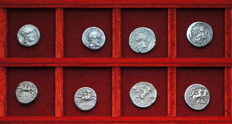 RRC 258 SEX.IVLI CAISAR Julia, RRC 259 Q.PILPIVS Marcia, RRC 260 T.CLOVLI Cloulia, Ahala collection, RRC 261 CN.DOMIT Domitia, coins of the Roman Republic