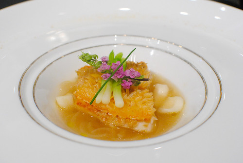 Pan fried amadai cooked with its scale and served with a lily bulb yuzu scented broth
