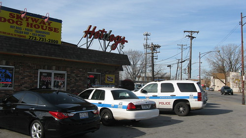 Chicago Police cars at the Chicago Skyway Dog House.  Chicago Illinois.  Sunday, November 25th, 2012. by Eddie from Chicago