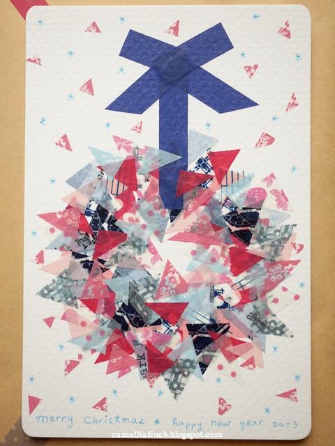 紙膠帶拼貼聖誕卡