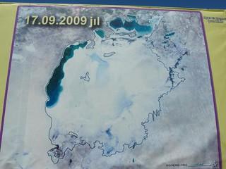 Mapa del nivel de agua del Mar de Aral en 2009