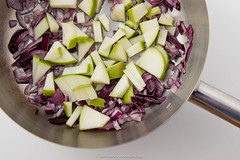 Red onion. Chopped red onion and olive oil in cook…