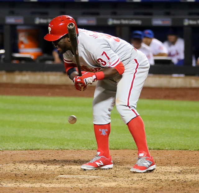 Photo of the Day Project, Sept. 22, 2016: The Phillies' Odubel Herrera is hit by a pitch in the 11th inning.