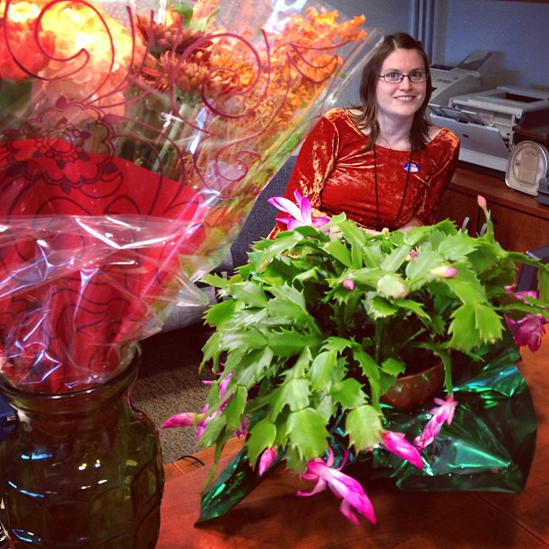 Despite her fear smile, I'm 47% confident Skye enjoyed her surprise birthday flowers and spiky plant delivery.