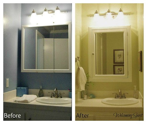 Hall Bathroom, before and after picture