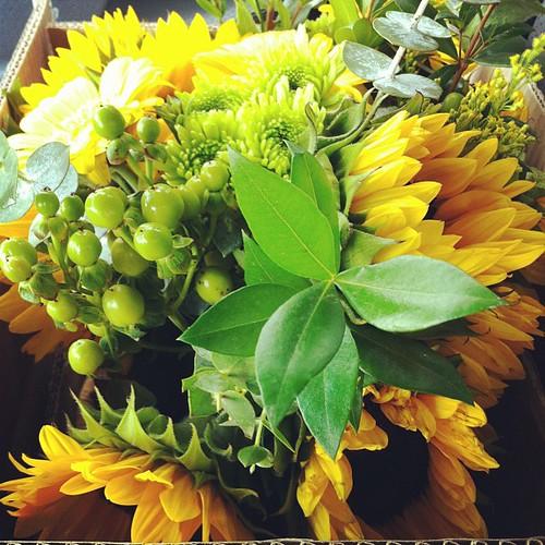 Bringing home a beautiful fall arrangement.
