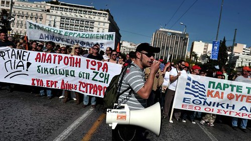 Greek workers take to the streets in a general strike against austerity. The country has been negatively impacted by the world capitalist crisis. by Pan-African News Wire File Photos