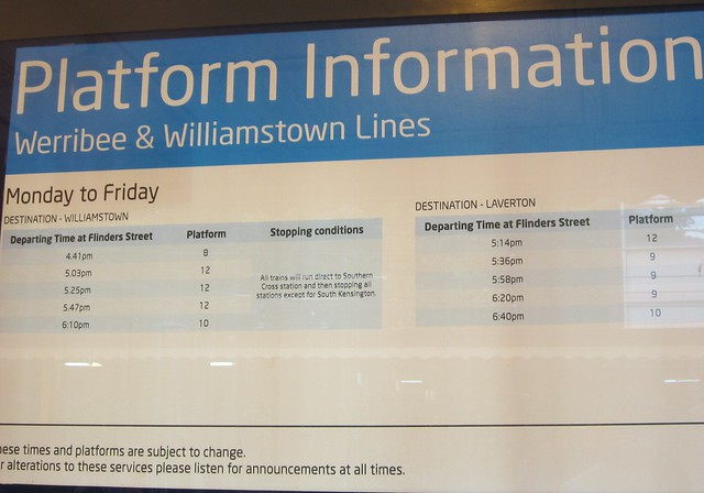 Williamstown/Laverton trains depart from platforms 8, 9, 10, or 12