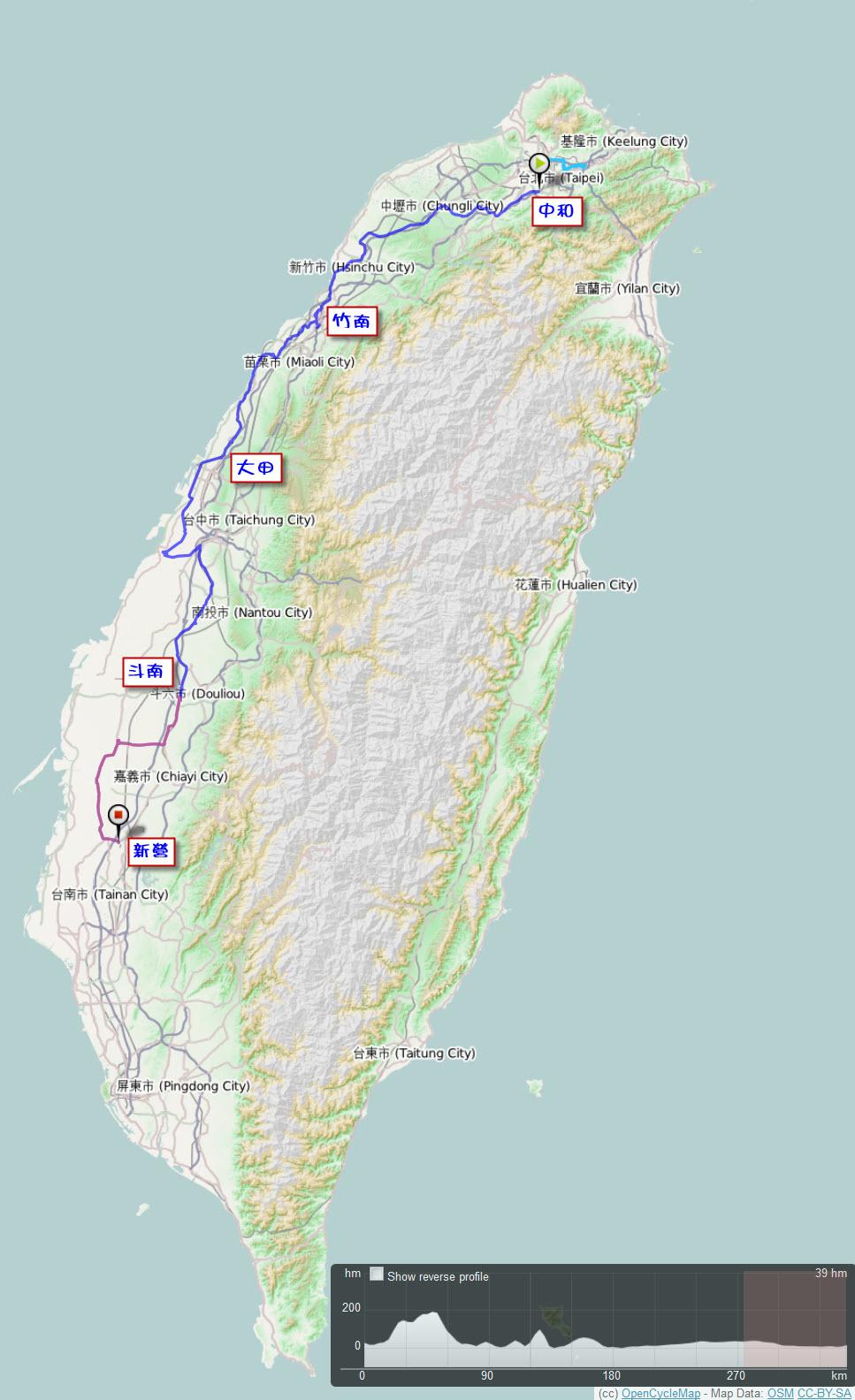 2011.10.09-12.單車環島.路線軌跡圖