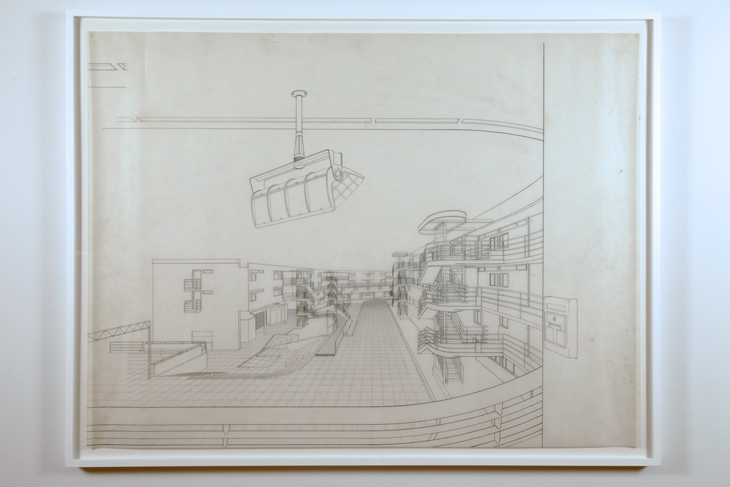 Included in the exhibit, were samples of Meier's architectural drawings of projects proposed for Cornell.