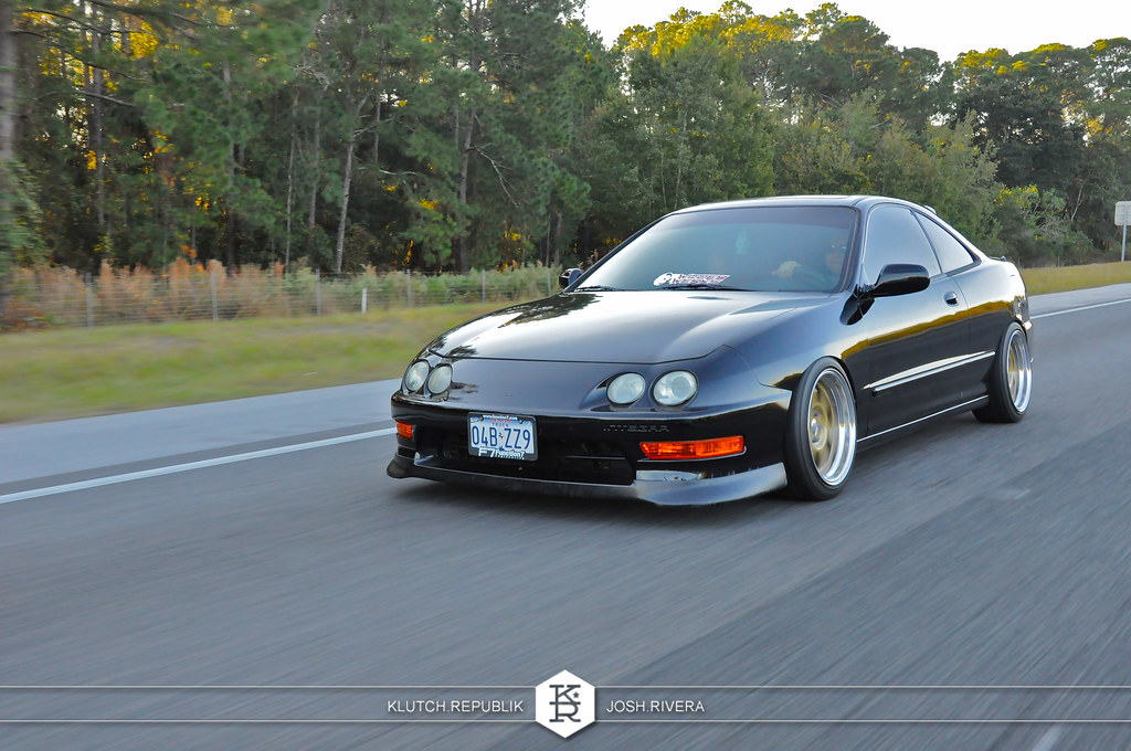 black dc2 integra acura itr rolling shot at simple clean 4 in florida 3pc wheels static airride low slammed coilovers stance stanced hellaflush poke tuck negative postive camber fitment fitted tire stretch laid out hard parked seen on klutch republik