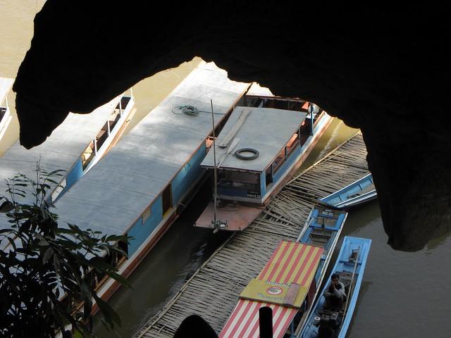 The boats outside the Pak Ou caves