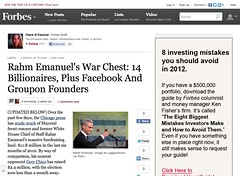 Rahm Emanuel's War Chest- 14 Billionaires, Plus Facebook And Groupon Founders - Forbes