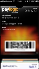 Passbook Ticket von re:publica 2013 #rp13