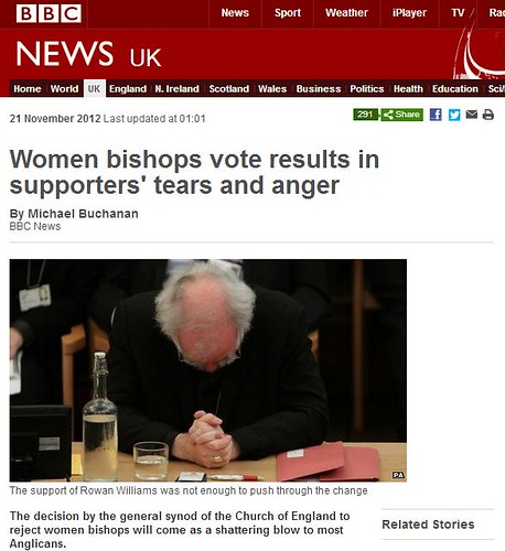 Screenshot of BBC news page about bishop vote