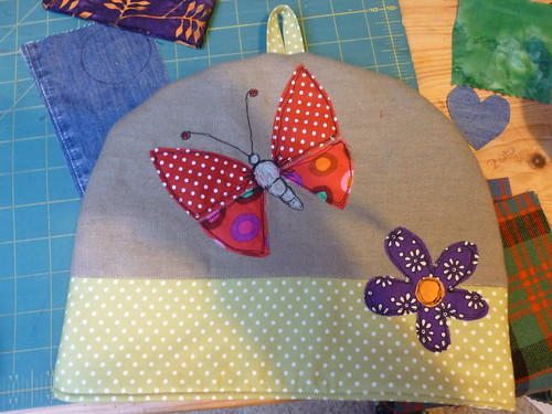 Tea cosy- applique design by Poppy Treffry in book called Free and Easy Stitch Style