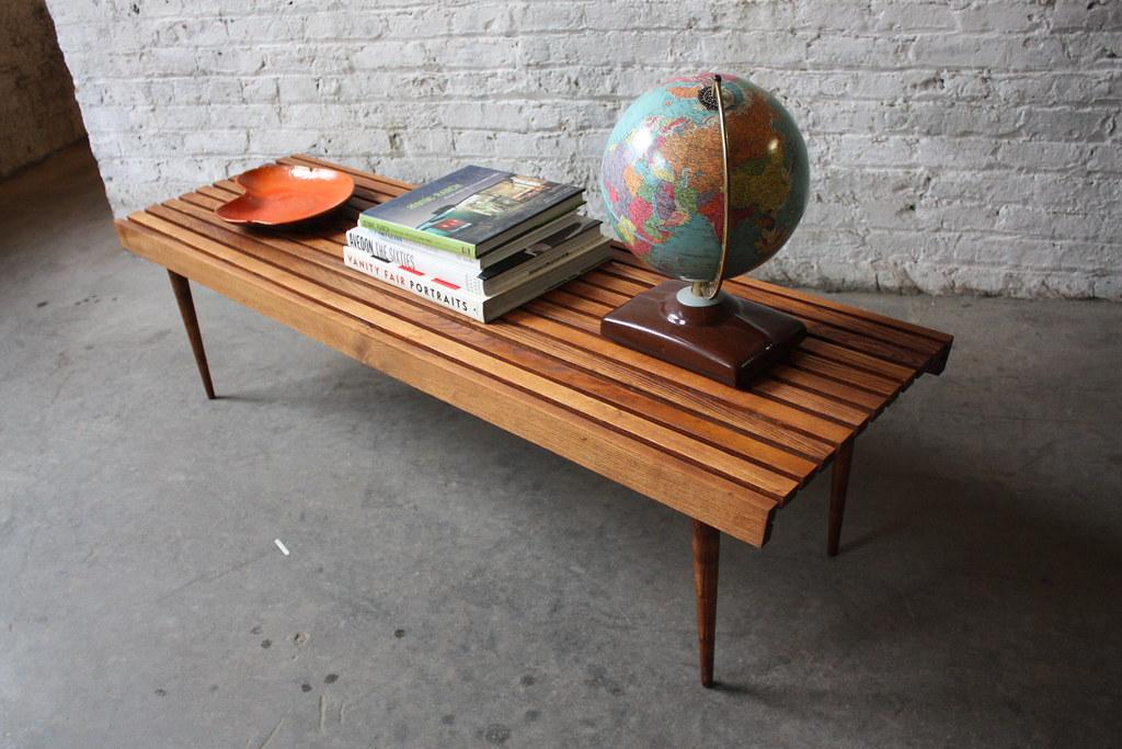 Mid Century Modern Walnut Slat Bench Coffee Table (U.S.A., 1960u0027s)