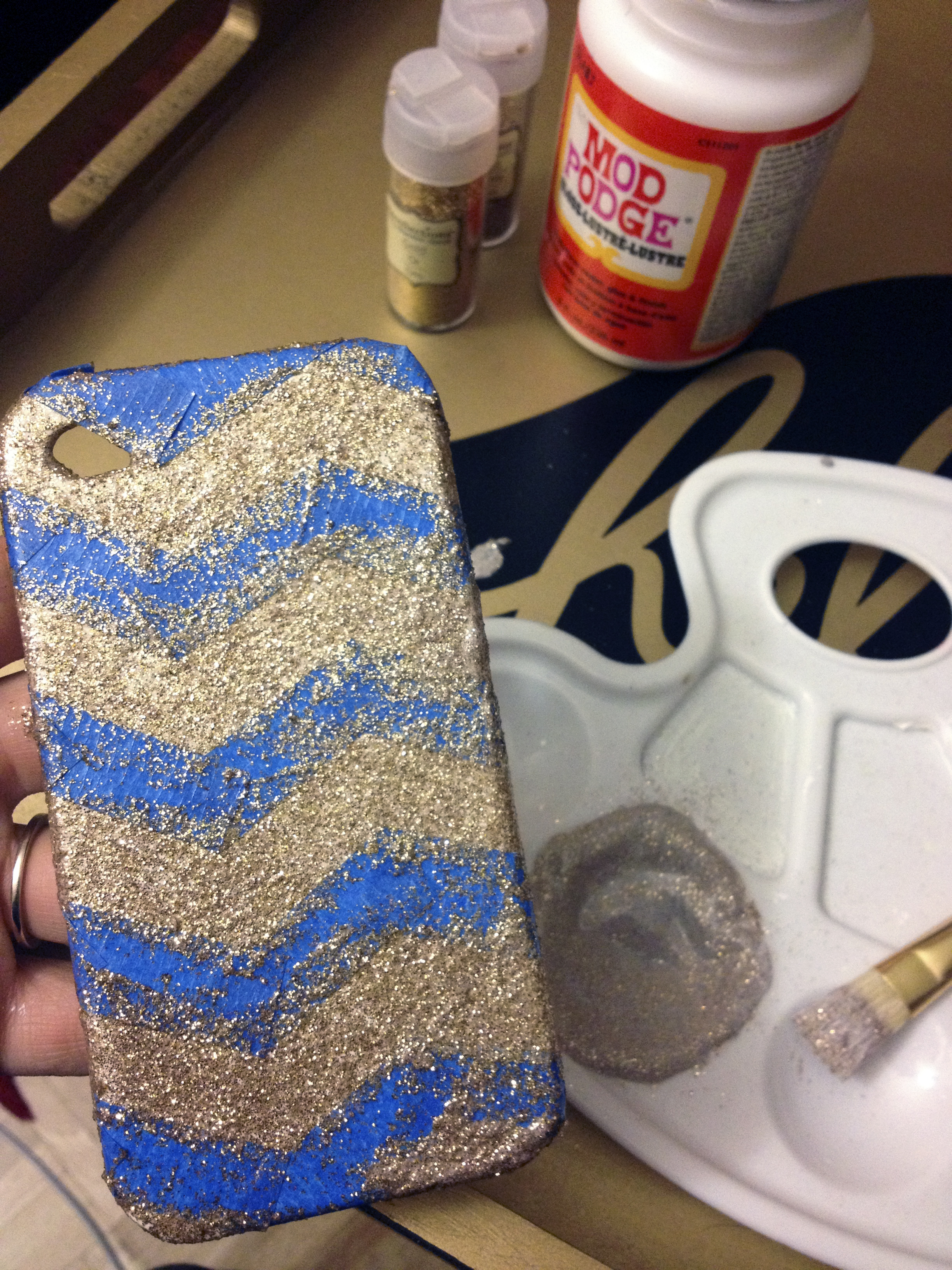 phone case makeover - paint on gold glitter