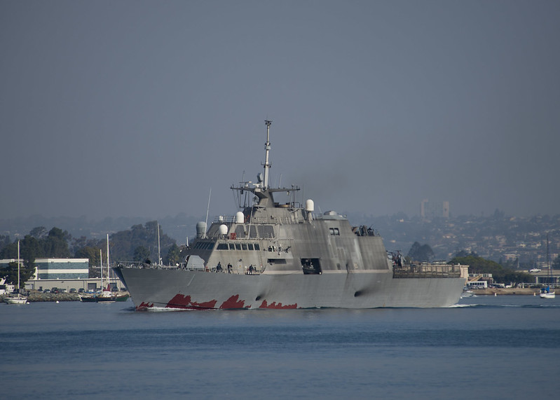 USS Freedom departing San Diego barbor