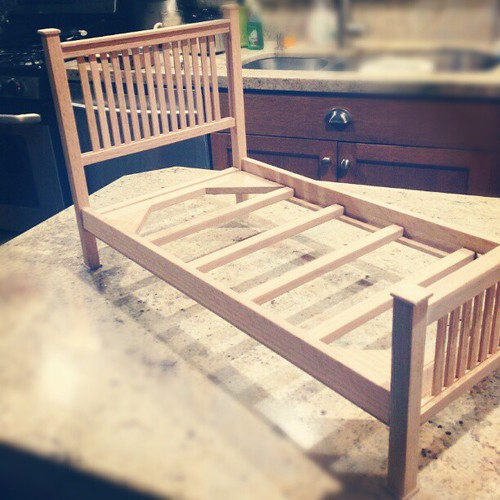 """From my dad: """"Do you think Addie will like it?"""" Me: o_O !!! (Doll bed for Christmas)"""
