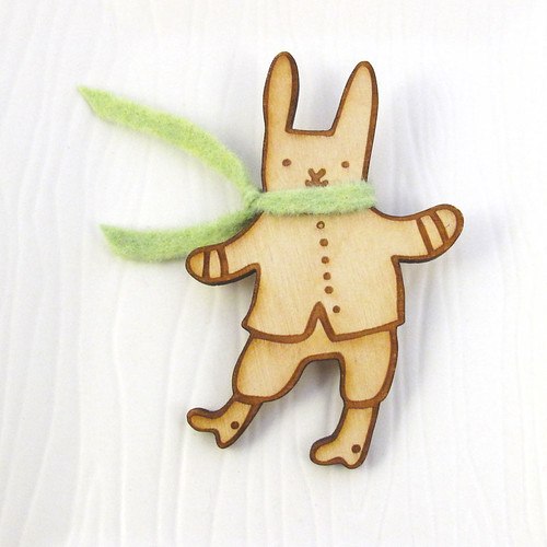 Winter Bunny With Green Scarf Wood Pin 1