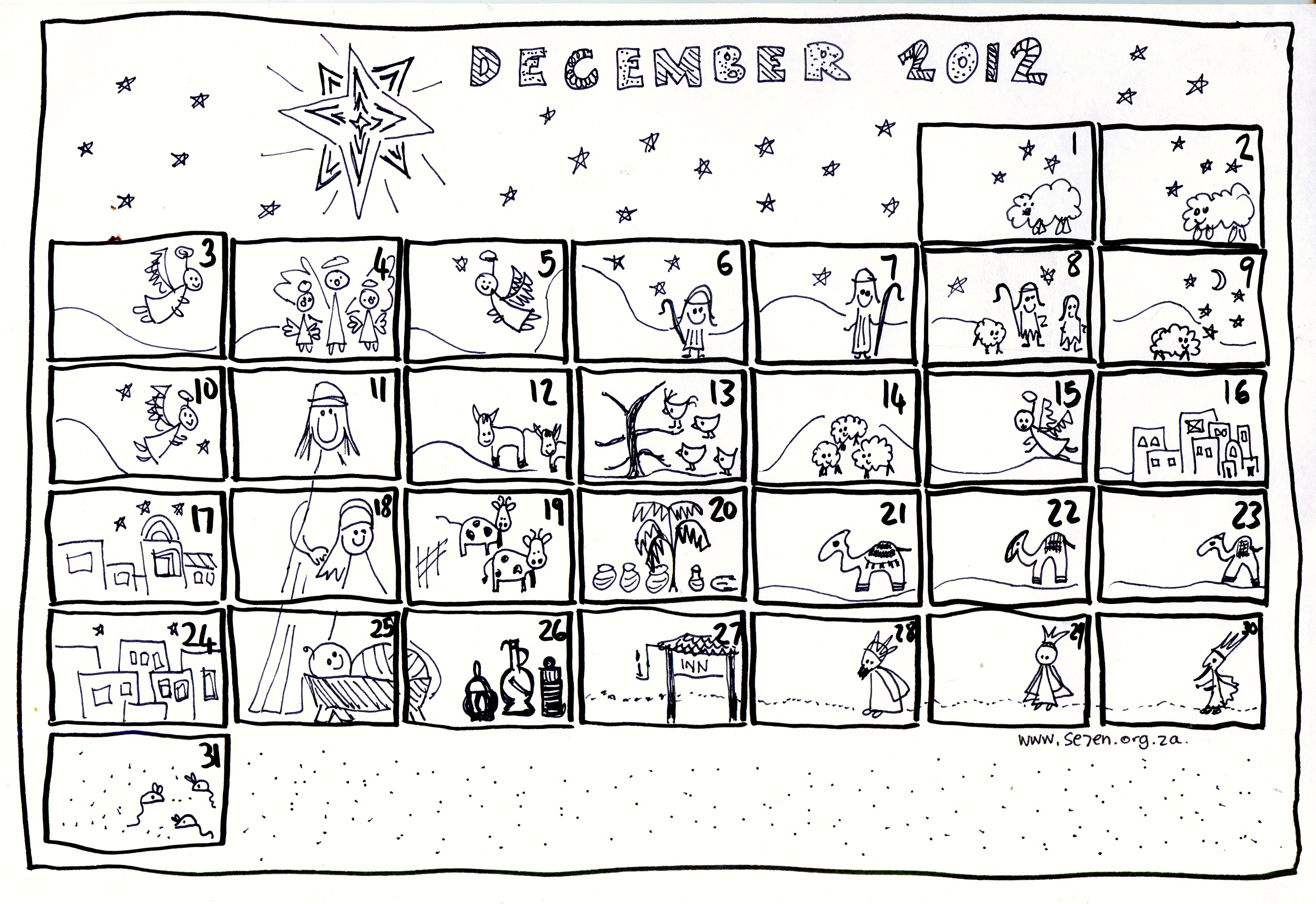 Se7en 39 s december and free printable advent calendar for Free advent calendar coloring pages