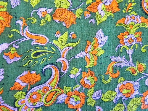 vintage green paisley fabric