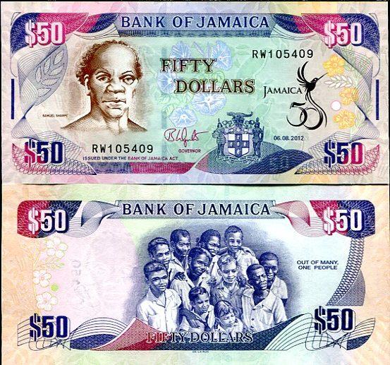 50 Dolárov Jamajka 2012, pamätná prítlač