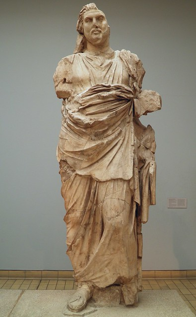 Colossal statue of a man, traditionnally identified with Maussollos, king of Caria, ca. 350 BC, from the north side of the Mausoleum, Mausoleum at Halicarnassus, British Museum