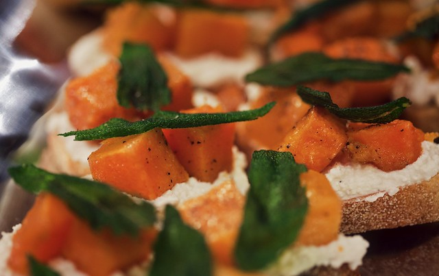 Butternut Squash, Ricotta, and Sage Crostini