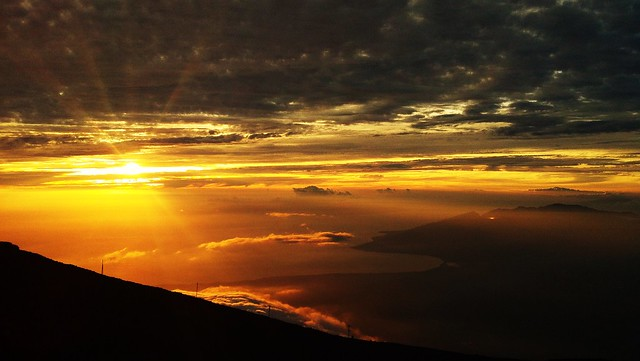 Sunset on top of the volcano