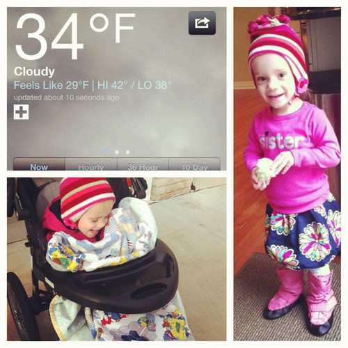 Bundled Addie up for a walk despite the cold. Glad I did. Must combat #winterweightgain :)