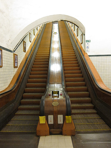 wooden escalators
