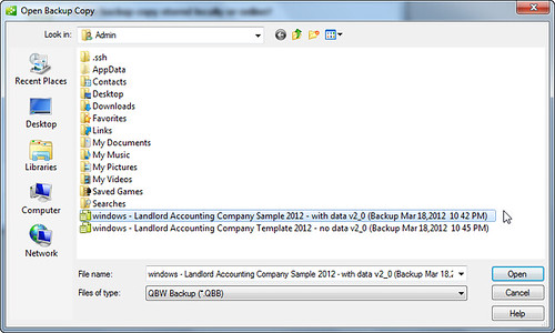 step 3 - open or restore quickbooks for landlords