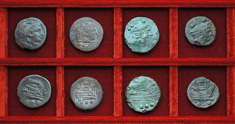 RRC 097 L Luceria bronzes (3) Ahala collection, coins of the Roman Republic
