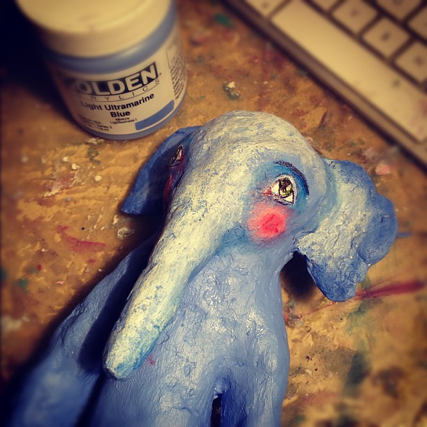 Little elephant statue. Painting has begun. :)
