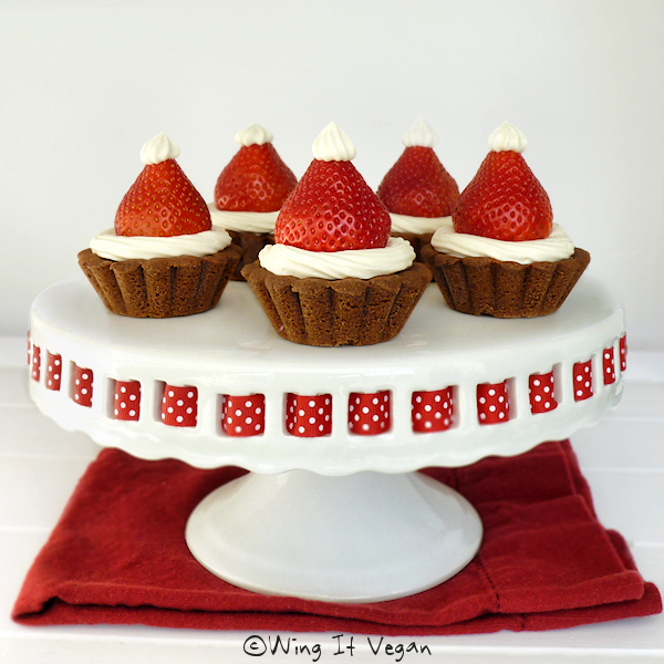 Strawberry Santa Hats on Chocolate Tarts
