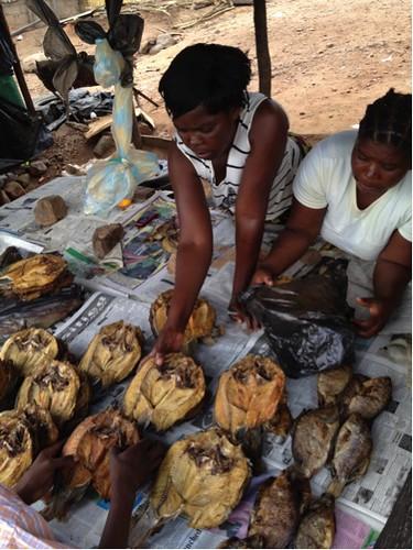 Women selling dried bream