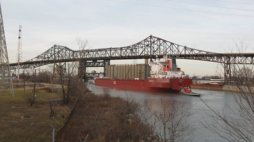 A large Canadian freighter ship passing beneath the Chicago Skyway Tollway bridge.  Chicago Illinois.  Sunday, November 25th, 2012. by Eddie from Chicago